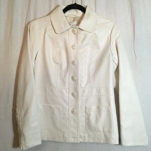 Chico's Faux Leather White Button Front Jacket